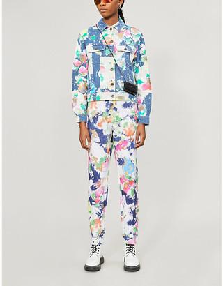 Moschino Paint-splat pattern denim jacket