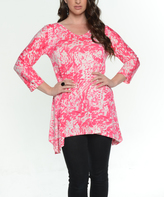 Pink Tie-Dye Three-Quarter Sleeve Tunic - Plus Too