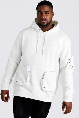 BoohoomanBoohooMAN Mens Cream Big & Tall MAN Official Pocket Hoodie, Cream