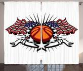 SCOCICI Sports Decor Collection Basketball with Flags and Stars Banner Sunshine Stripes Championship Image Living Room Bedroom Curtain 2 Panels Set Orange Navy White Gray