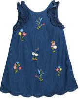 Mayoral Denim Floral-Embroidered Dress, Size 3-7