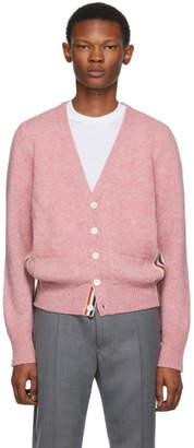 Thom Browne Pink Stripe Relaxed-Fit V-Neck Cardigan