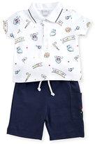 Kissy Kissy Slugger Pima Jersey Bermuda Set, Blue/White, Size 9-24 Months