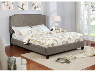 Nathaniel Home Queen Size Upholstered Platform Bed with Nail Head, Brown