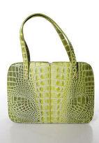 Ungaro Green Embossed Lizard Skin 4 Pocket Shoulder Handbag