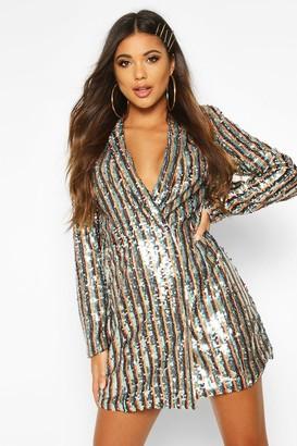 boohoo Stripe Sequin Blazer Dress