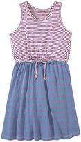 Pink Chicken Malibu Dress (Toddler/Kid) - Blue/Purple Stripes - 4 Years