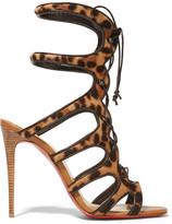 Christian Louboutin Amazoulo 100 Leopard-print Calf Hair Sandals - Leopard print