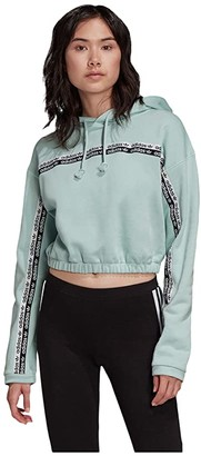 adidas Cropped Hoodie (Green Tint) Women's Clothing