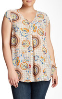 Daniel Rainn V-Neck Woven Shell Blouse (Plus Size)