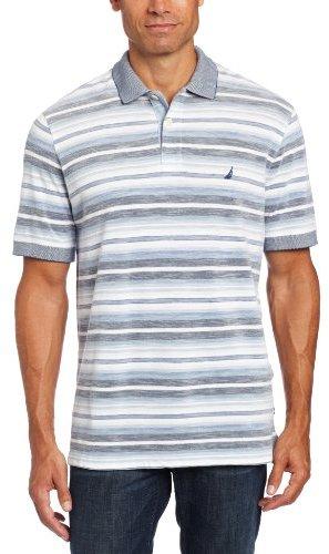 Nautica Men's Short Sleeve Striped Oxford Polo