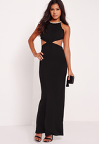Missguided Embellished Neck Cut Out Maxi Dress Black