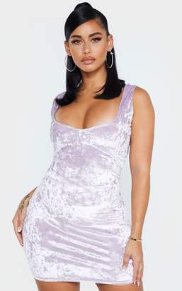 PrettyLittleThing Shape Lilac Velvet V Neck Bodycon Dress