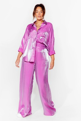Nasty Gal Womens Your Shine is Now Plus Wide-Leg trousers - Purple - 16, Purple