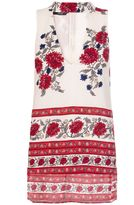 Quiz Cream And Red Crepe Floral Turtle Neck Tunic Dress