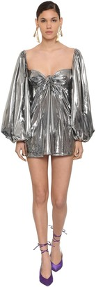 ATTICO Metallic Jersey Mini Dress W/ Bow