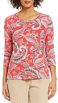 Investments Petite Essentials Scoop Neck 3/4 Sleeve Printed Top