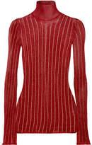 Ellery Urchin Striped Metallic Ribbed-knit Turtleneck Sweater - Brick