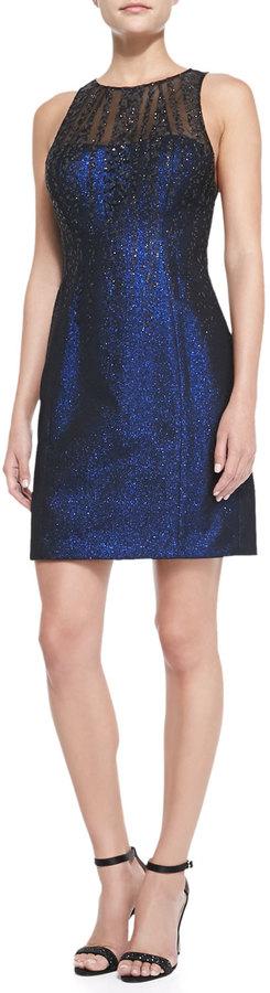 Phoebe by Kay Unger Phoebe Sleeveless Illusion-Neck Glitter Cocktail Dress