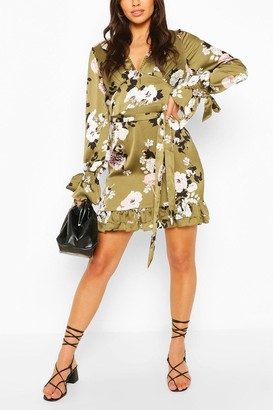 boohoo Floral Print Plunge Ribbon Tie Mini Dress