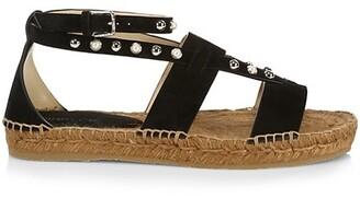 Jimmy Choo Denise Embellished Suede Espadrille Sandals