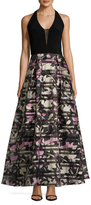 JS Collections Printed Halter Gown