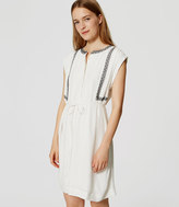 LOFT Embroidered Tie Waist Shirtdress
