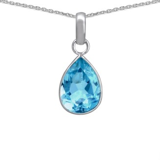 Essence Jewelry Country Of Blue Topaz Sterling Silver Pear Short Pendant by Essence Jewelry
