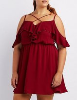 Charlotte Russe Plus Size Ruffle Cold Shoulder Dress