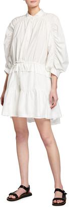 Frame Ruched 3/4-Sleeve Flounce Dress