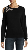 BA&SH Ossie Crewneck Cold-Shoulder Wool Sweater w/ Embellishment