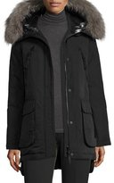 Derek Lam 10 Crosby Long Fur-Trimmed Hooded Puffer Coat, Black