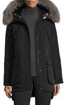 Derek Lam Long Fur-Trimmed Hooded Puffer Coat, Black