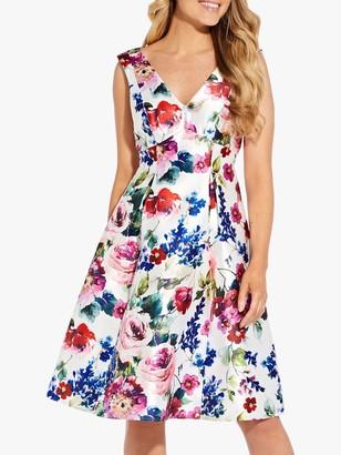 Adrianna Papell Floral Print Mikado Midi Dress, White/Multi