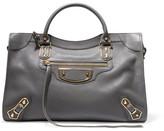 Balenciaga Metallic Edge City Textured-leather Tote - Dark gray