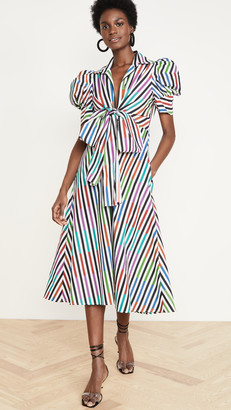 Silvia Tcherassi Roopal Stripe Puff Sleeve Dress