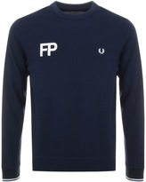 Fred Perry FP Logo Pique Sweatshirt Jumper Blue