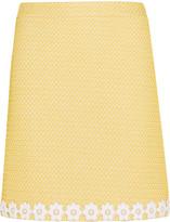 Moschino Appliquéd honeycomb-knit mini skirt