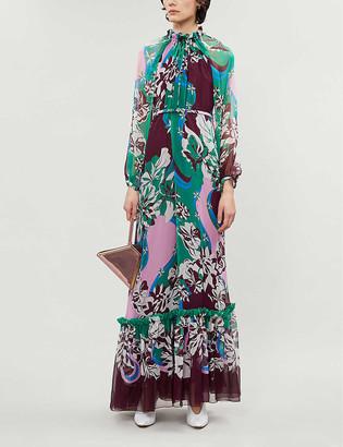 Emilio Pucci Graphic-print belted silk maxi dress