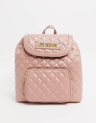 Love Moschino quilted backpack with front pocket in blush pink