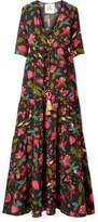 Figue Kalila Floral-print Silk Crepe De Chine Maxi Dress - Black