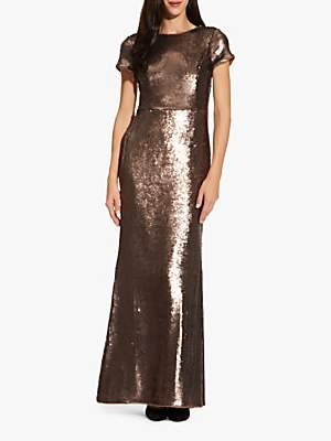 Adrianna Papell Metallic Sequin Mermaid Gown, Dark Mink