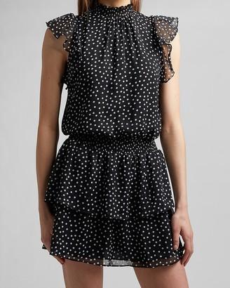Express Polka Dot Smocked Waist Flutter Sleeve Dress