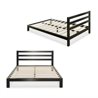Overstock Full size Heavy Duty Metal Platform Bed Frame with Headboard and Wood Slats - Pictured