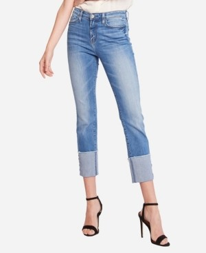 Flying Monkey High Rise Wide Cuff Slim Straight Crop Jeans