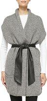 Christopher Fischer Short-Sleeve Cardigan W/ Faux Leather Belt
