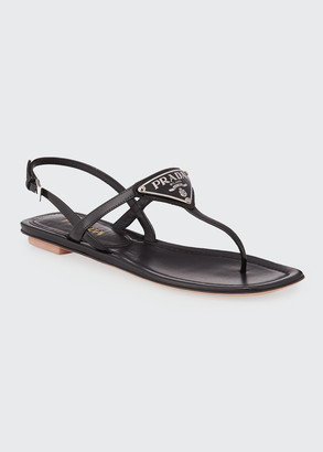 Prada Patent Leather Logo Sandals