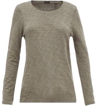 Atm - Distressed-hem Cotton-jersey Long-sleeved T-shirt - Womens - Khaki