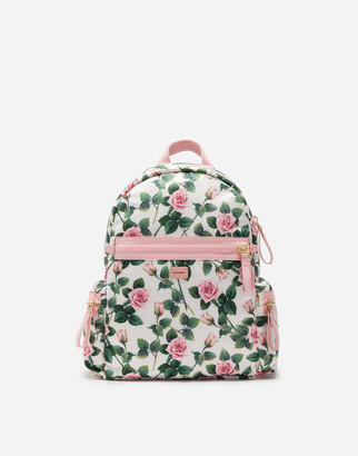 Dolce & Gabbana Nylon Backpack With Tropical Rose Print