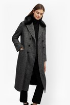 French Connection Rupert Tweed Long Double Breast Coat